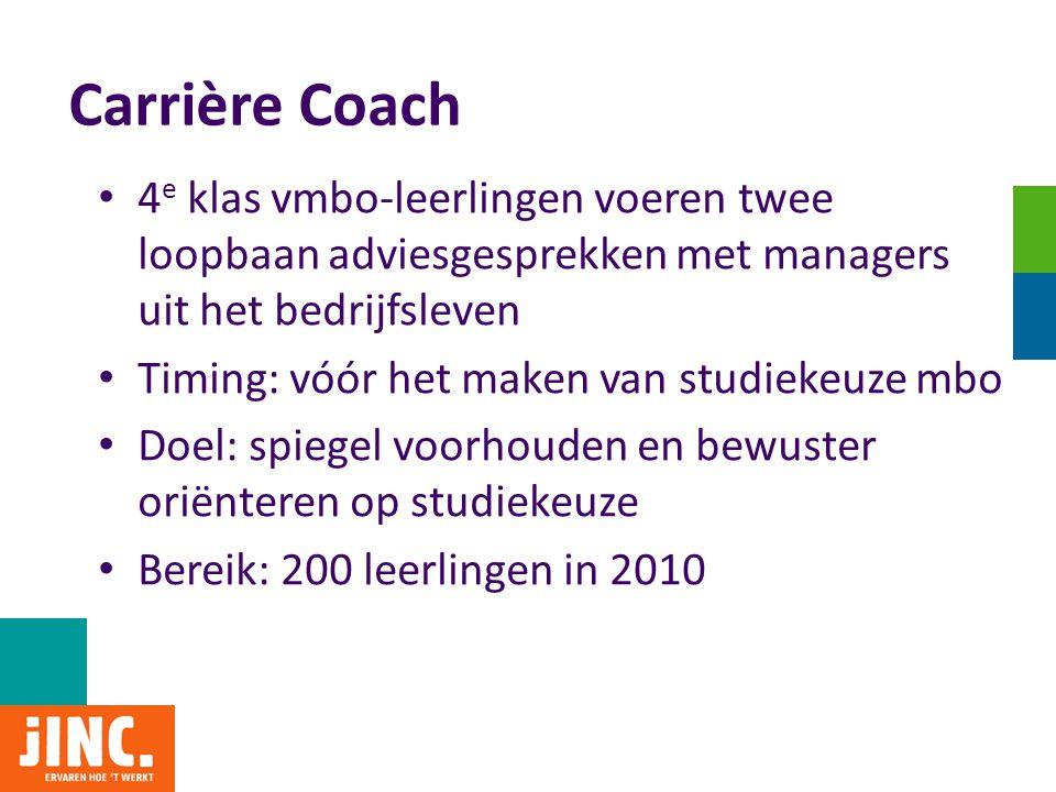 Carrière Coach 4e klas vmbo-leerlingen voeren twee loopbaan adviesgesprekken met managers uit het bedrijfsleven.