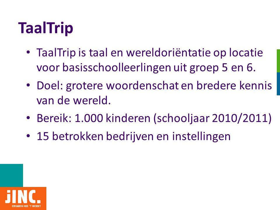 TaalTrip TaalTrip is taal en wereldoriëntatie op locatie voor basisschoolleerlingen uit groep 5 en 6.