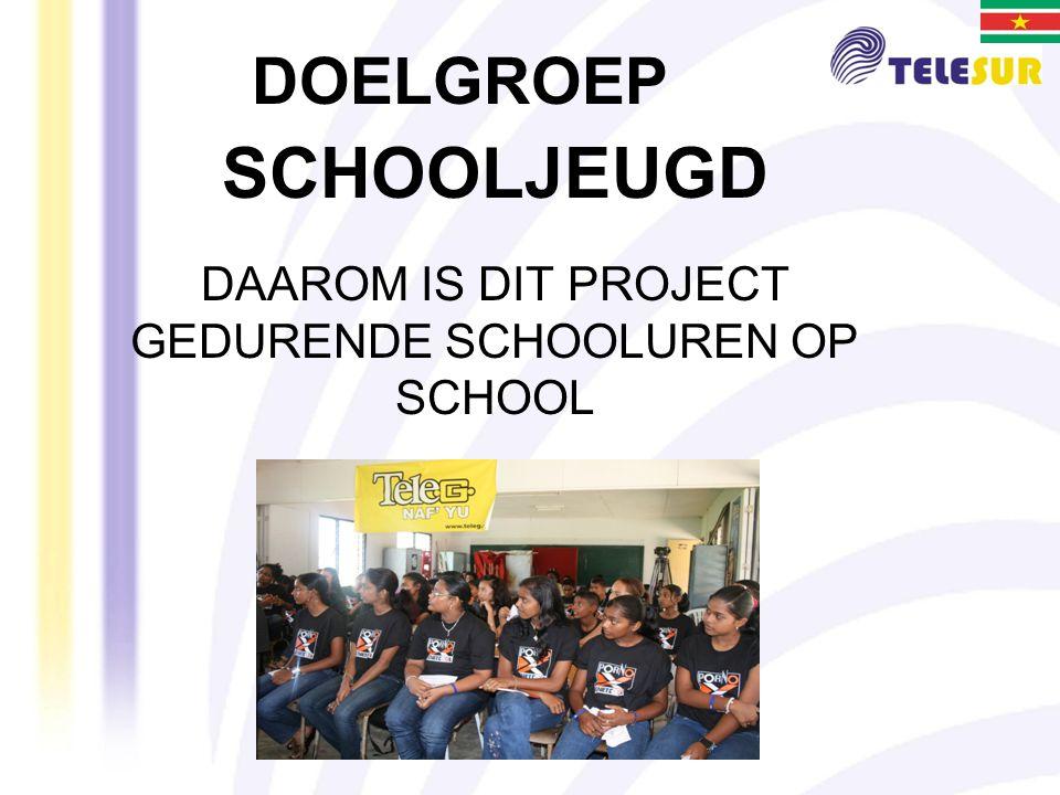 SCHOOLJEUGD DAAROM IS DIT PROJECT GEDURENDE SCHOOLUREN OP SCHOOL