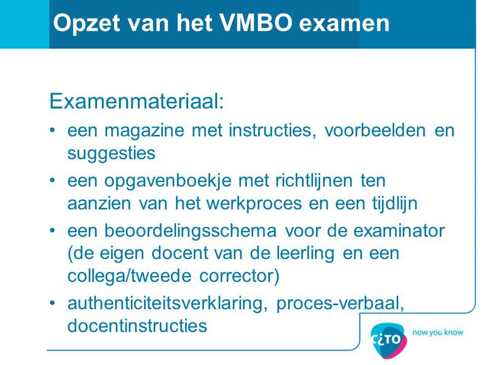 Opzet van het VMBO examen