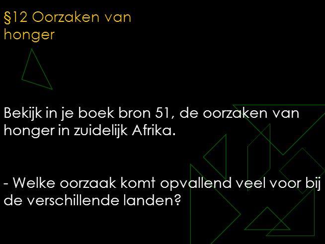 §12 Oorzaken van honger Bekijk in je boek bron 51, de oorzaken van honger in zuidelijk Afrika.