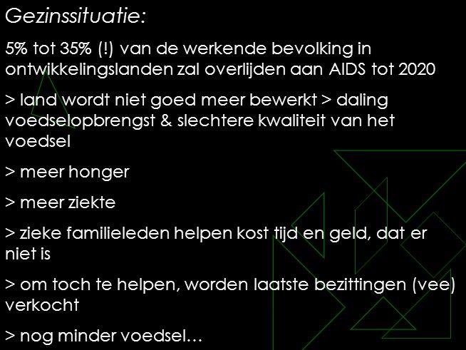 Gezinssituatie: 5% tot 35% (!) van de werkende bevolking in ontwikkelingslanden zal overlijden aan AIDS tot 2020.