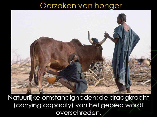Oorzaken van honger Natuurlijke omstandigheden: de draagkracht (carrying capacity) van het gebied wordt overschreden.
