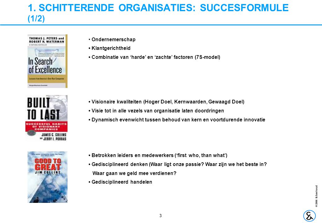 1. SCHITTERENDE ORGANISATIES: SUCCESFORMULE (1/2)