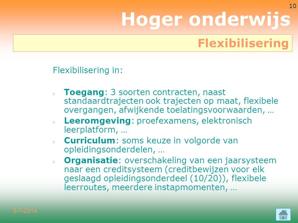 Hoger onderwijs Flexibilisering Flexibilisering in: