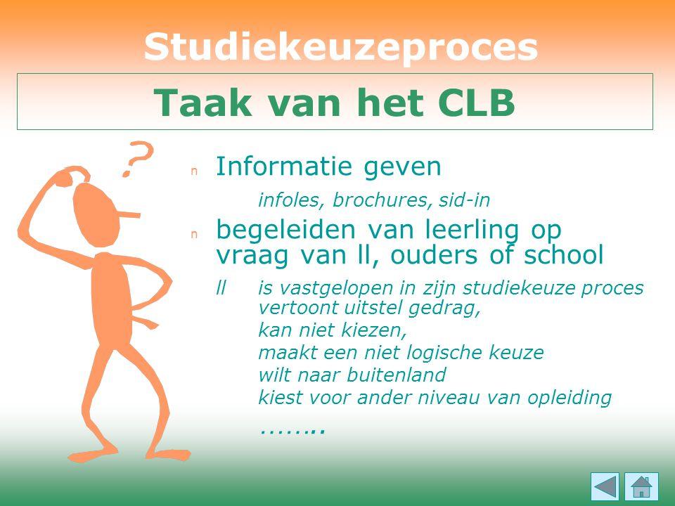 Studiekeuzeproces Taak van het CLB
