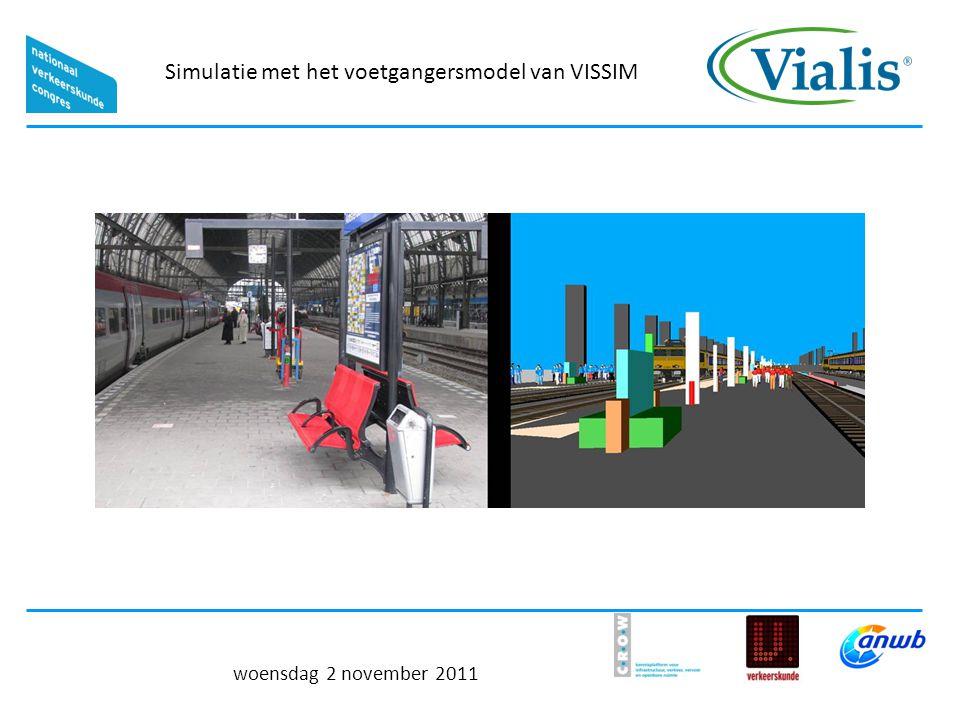 Simulatie met het voetgangersmodel van VISSIM