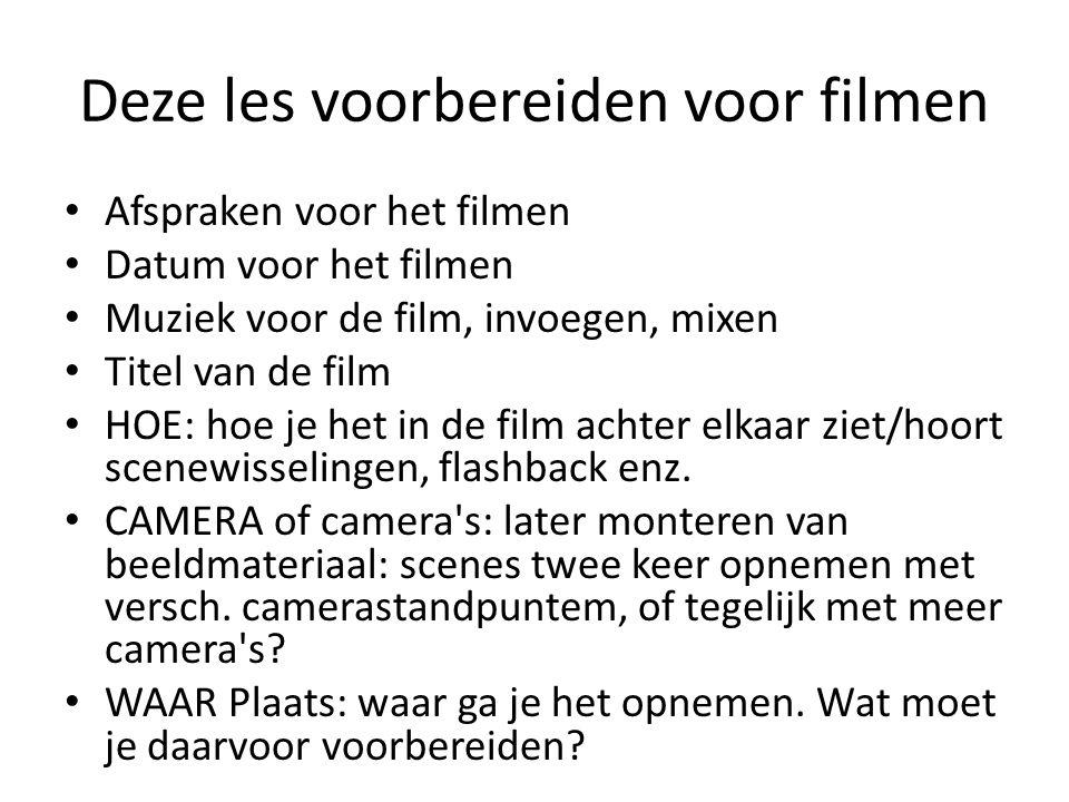 Deze les voorbereiden voor filmen