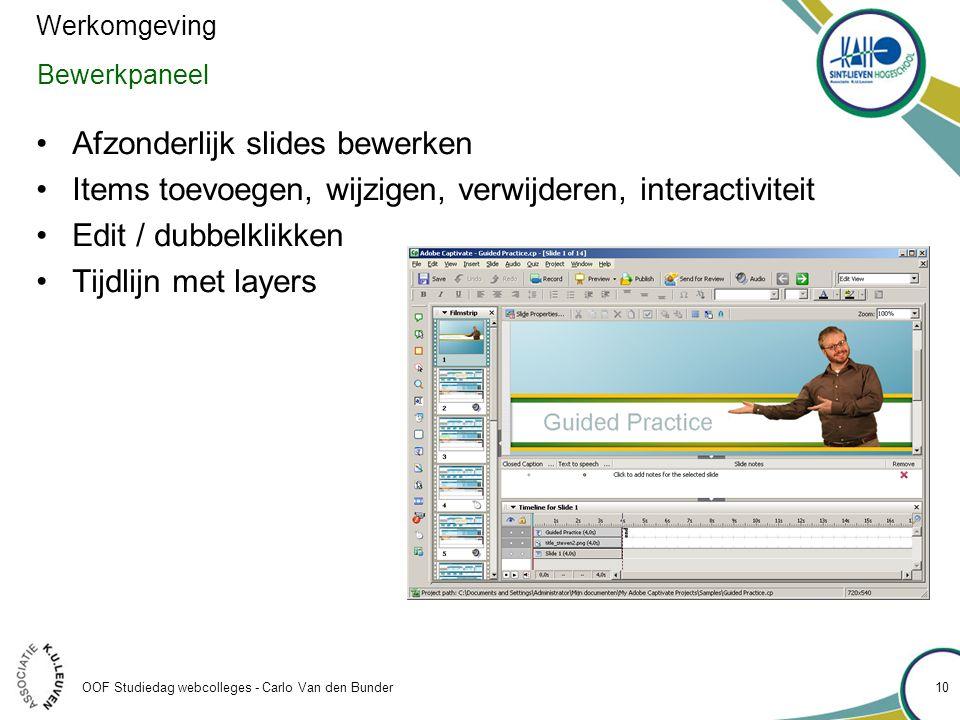Afzonderlijk slides bewerken