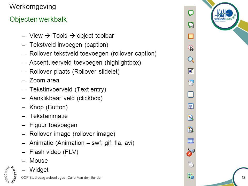 Werkomgeving Objecten werkbalk View  Tools  object toolbar