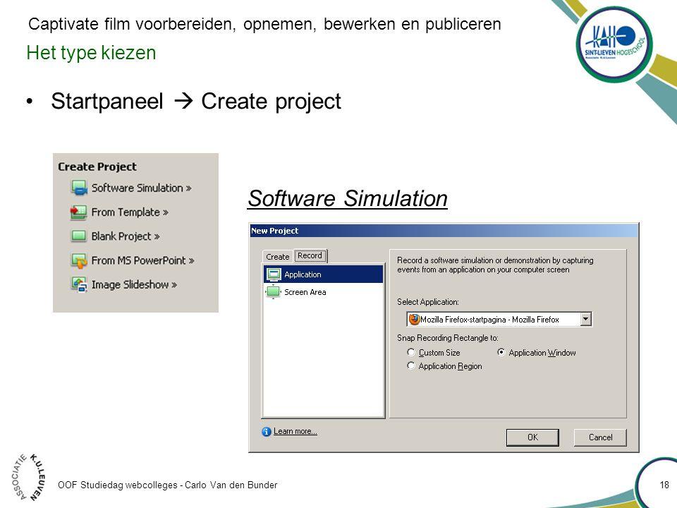 Startpaneel  Create project