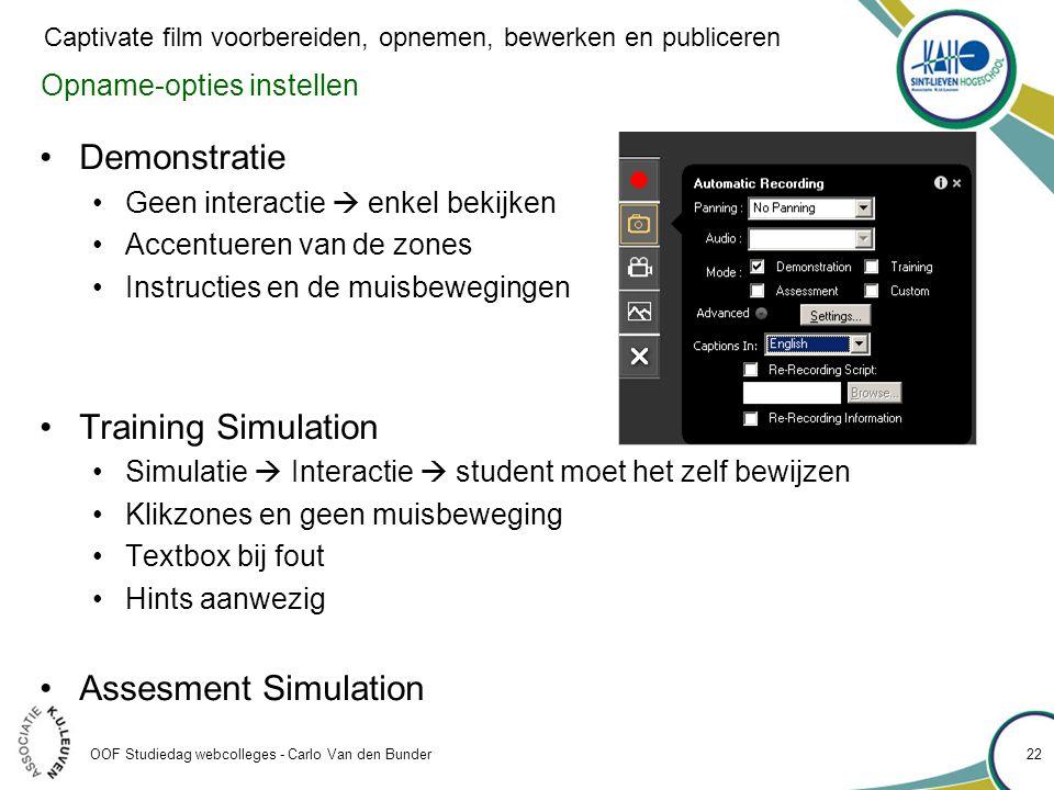 Demonstratie Training Simulation Assesment Simulation