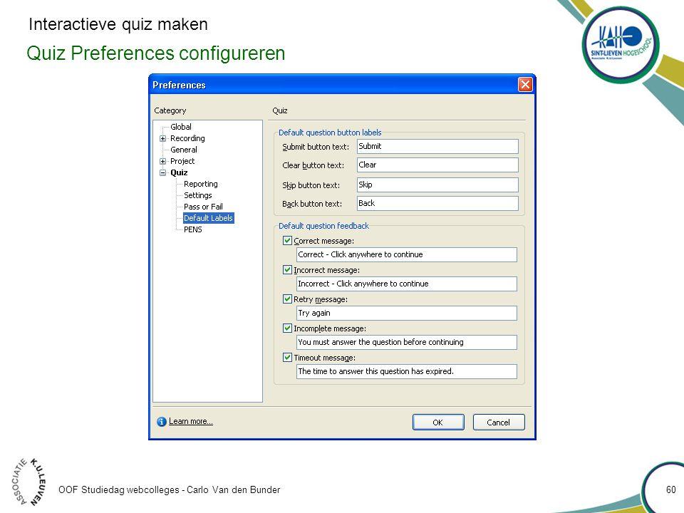 Quiz Preferences configureren