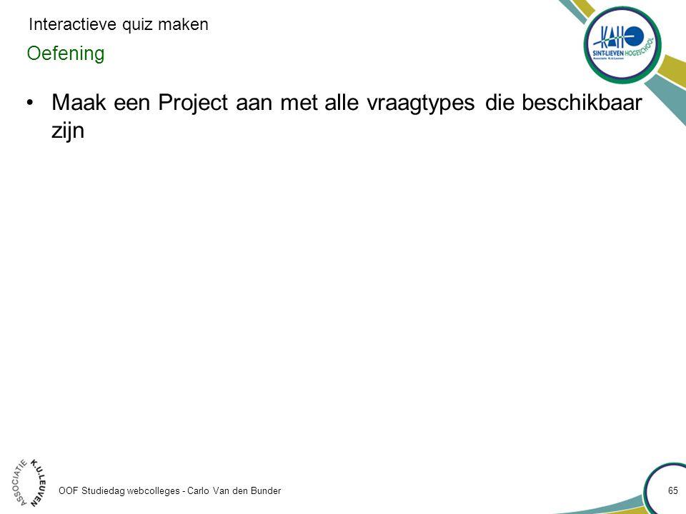 Maak een Project aan met alle vraagtypes die beschikbaar zijn