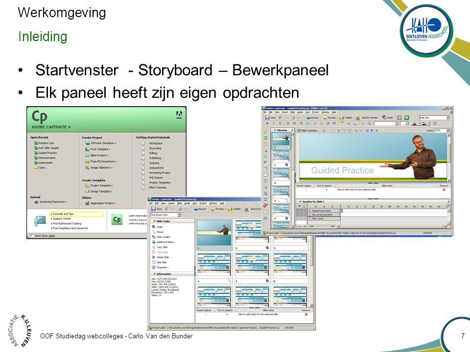 Startvenster - Storyboard – Bewerkpaneel