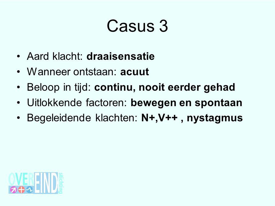 Casus 3 Aard klacht: draaisensatie Wanneer ontstaan: acuut