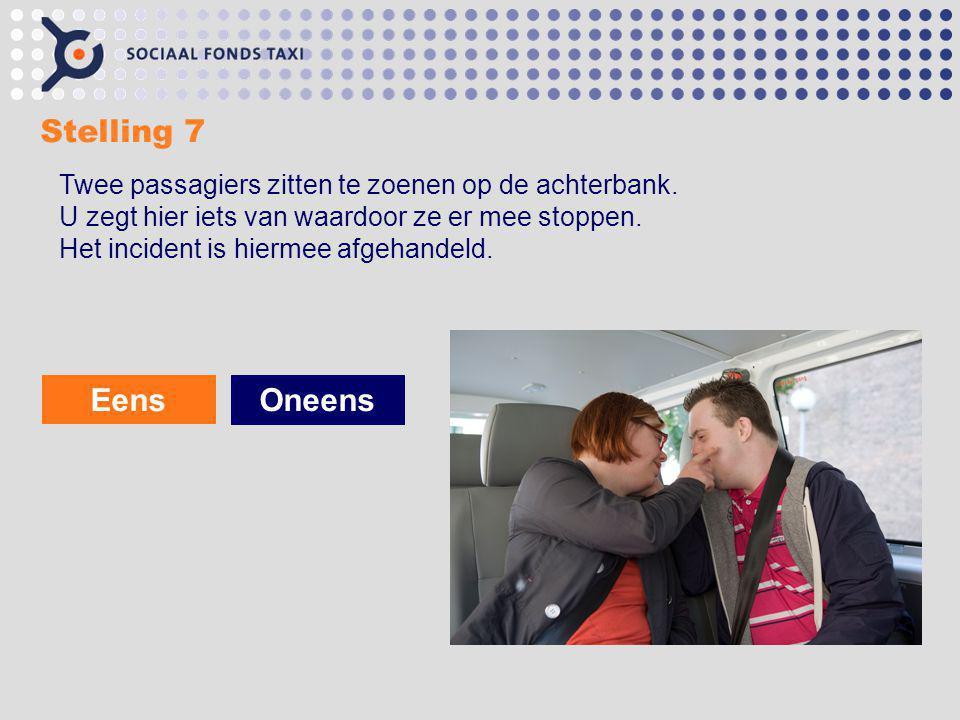 Stelling 7 Twee passagiers zitten te zoenen op de achterbank. U zegt hier iets van waardoor ze er mee stoppen. Het incident is hiermee afgehandeld.
