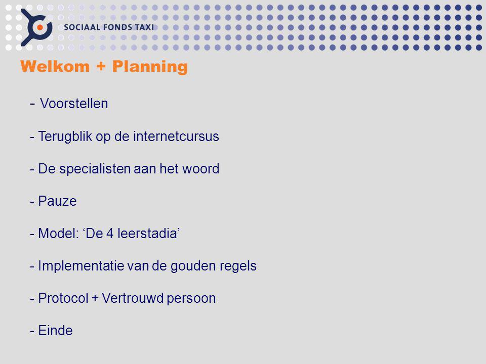 Welkom + Planning Voorstellen Terugblik op de internetcursus