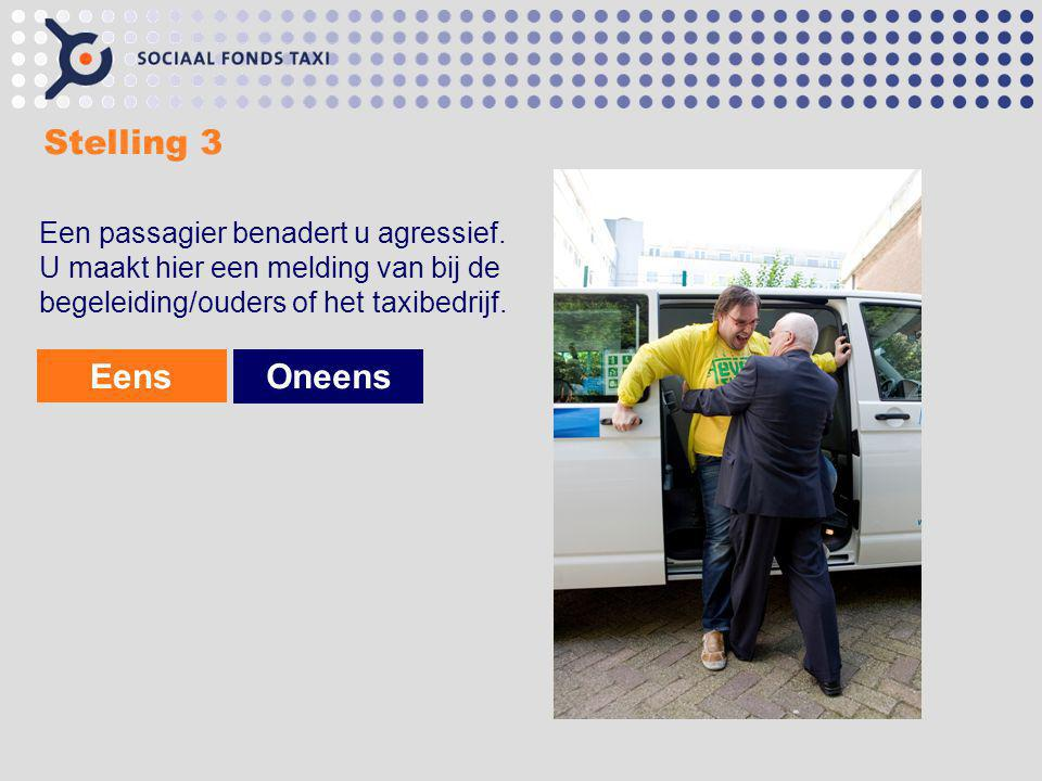 Stelling 3 Een passagier benadert u agressief. U maakt hier een melding van bij de begeleiding/ouders of het taxibedrijf.