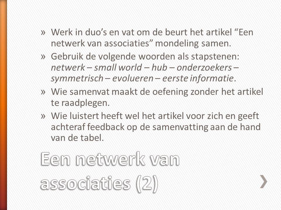 Een netwerk van associaties (2)