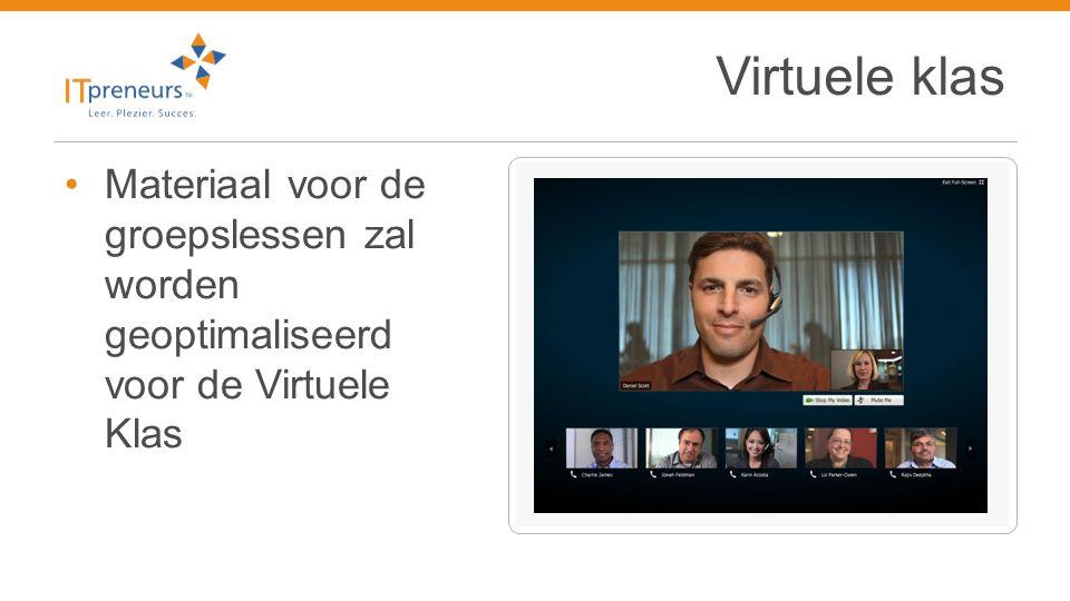 Virtuele klas Materiaal voor de groepslessen zal worden geoptimaliseerd voor de Virtuele Klas