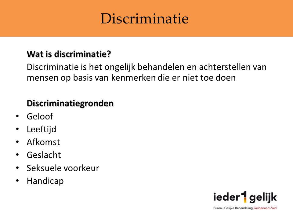 Discriminatie Wat is discriminatie