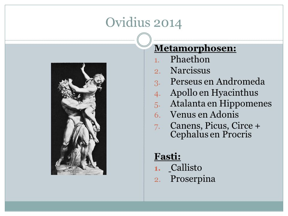 Ovidius 2014 Metamorphosen: Phaethon Narcissus Perseus en Andromeda