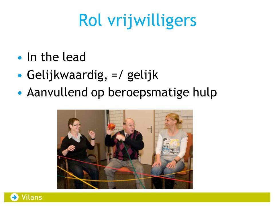Rol vrijwilligers In the lead Gelijkwaardig, =/ gelijk