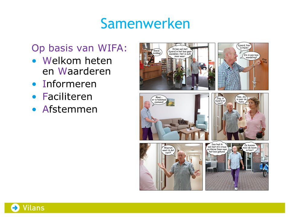 Samenwerken Op basis van WIFA: Welkom heten en Waarderen Informeren