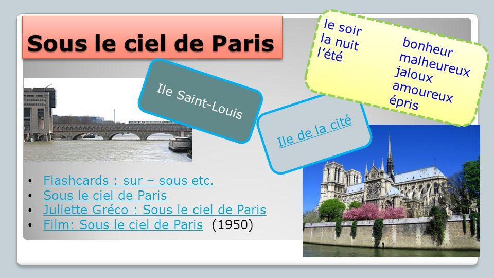 Sous le ciel de Paris le soir la nuit bonheur l'été malheureux jaloux