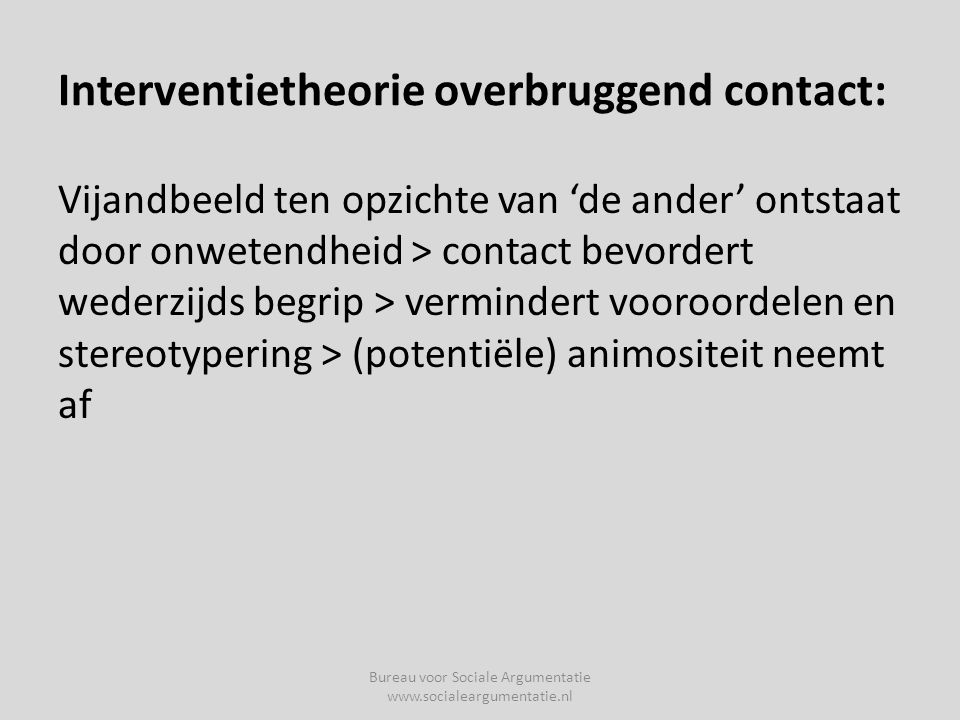 Interventietheorie overbruggend contact: