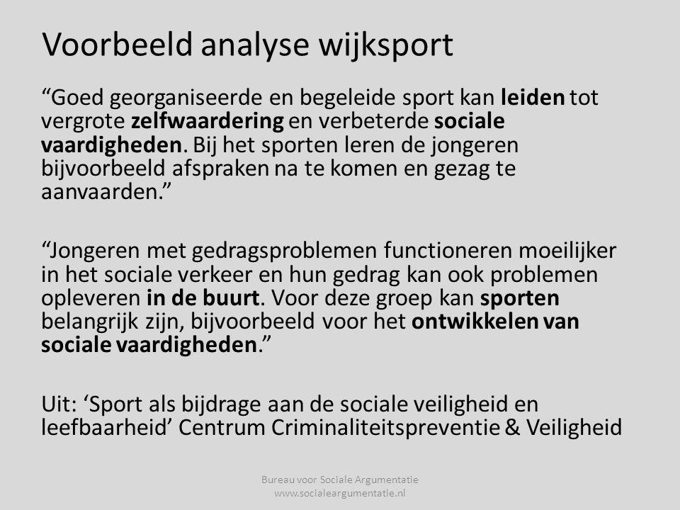 Voorbeeld analyse wijksport