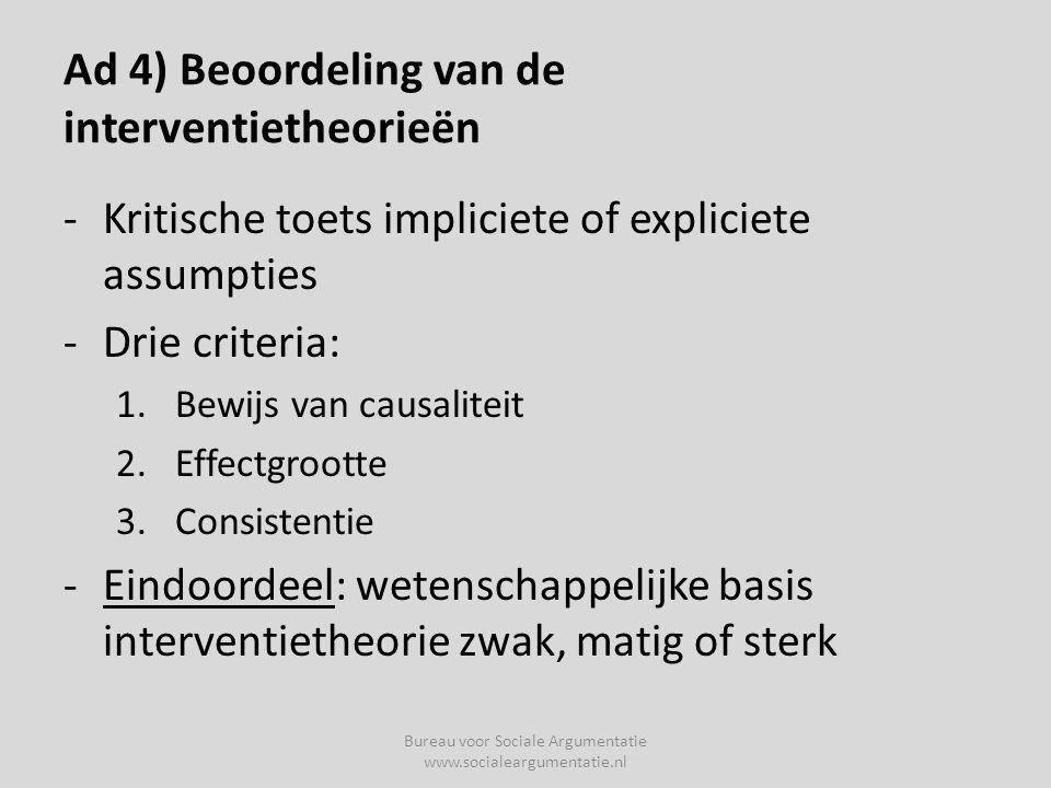 Ad 4) Beoordeling van de interventietheorieën