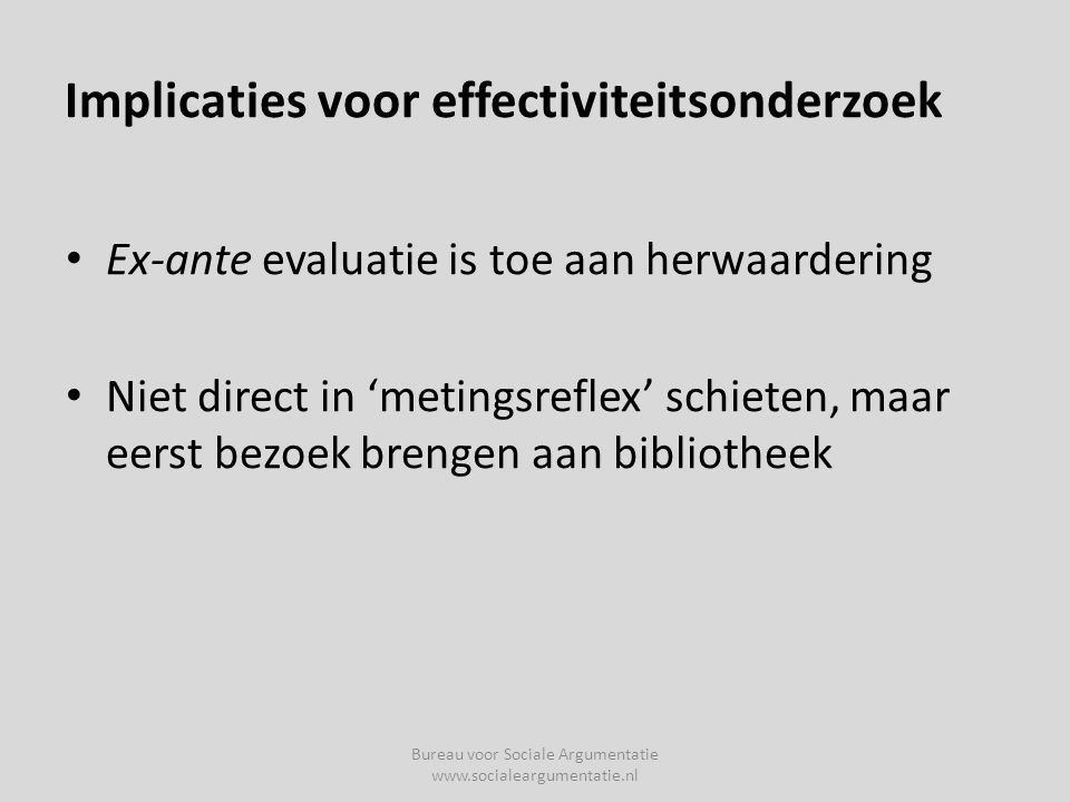 Implicaties voor effectiviteitsonderzoek
