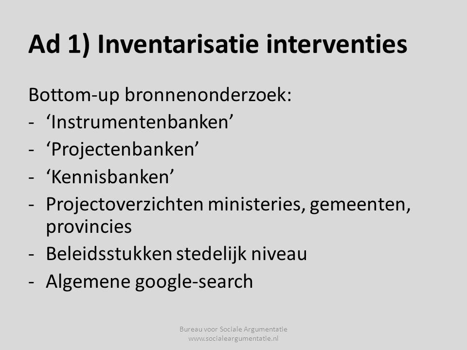 Ad 1) Inventarisatie interventies