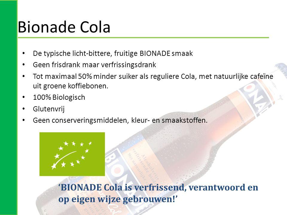 Bionade Cola De typische licht-bittere, fruitige BIONADE smaak. Geen frisdrank maar verfrissingsdrank.