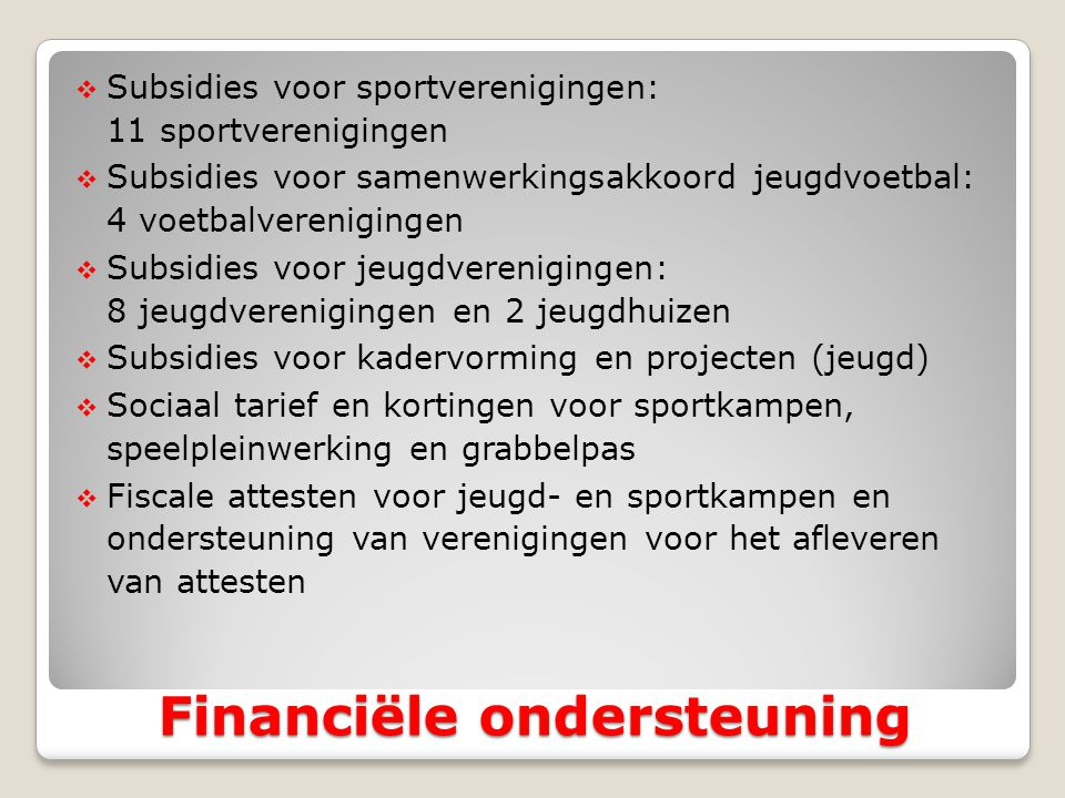 Financiële ondersteuning