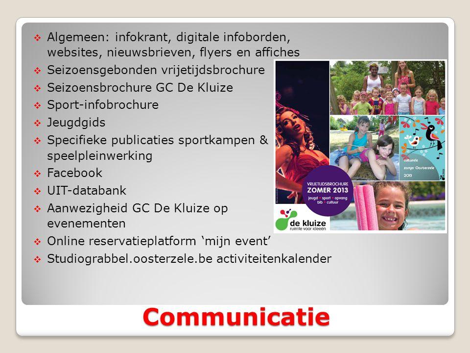 Algemeen: infokrant, digitale infoborden, websites, nieuwsbrieven, flyers en affiches