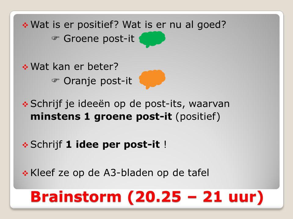 Brainstorm (20.25 – 21 uur) Wat is er positief Wat is er nu al goed