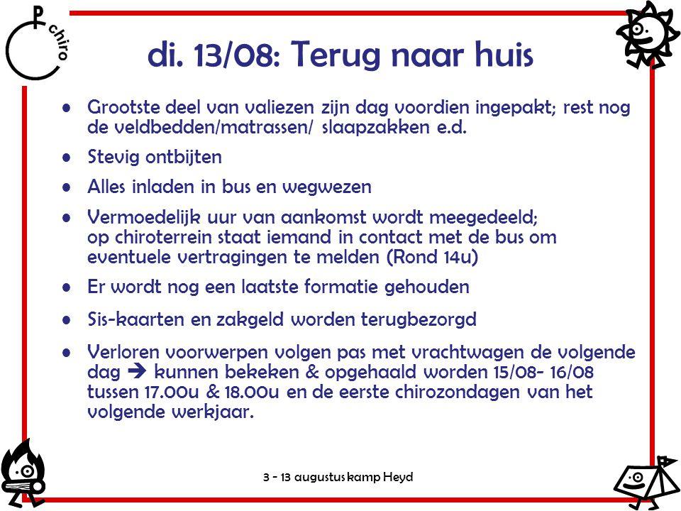 di. 13/08: Terug naar huis Grootste deel van valiezen zijn dag voordien ingepakt; rest nog de veldbedden/matrassen/ slaapzakken e.d.