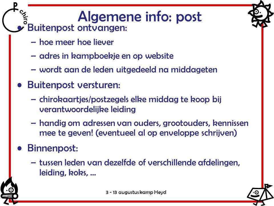 Algemene info: post Buitenpost ontvangen: Buitenpost versturen: