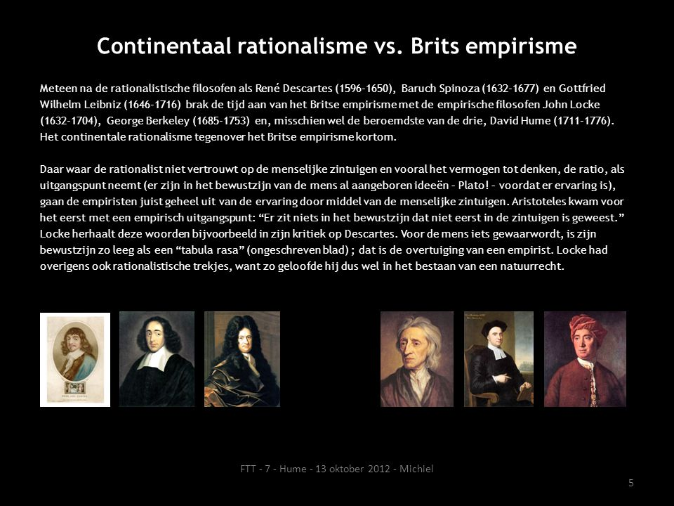 Continentaal rationalisme vs. Brits empirisme