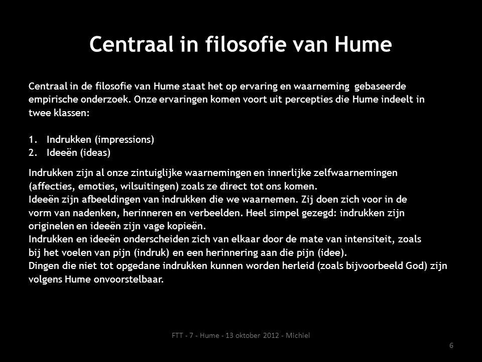 Centraal in filosofie van Hume