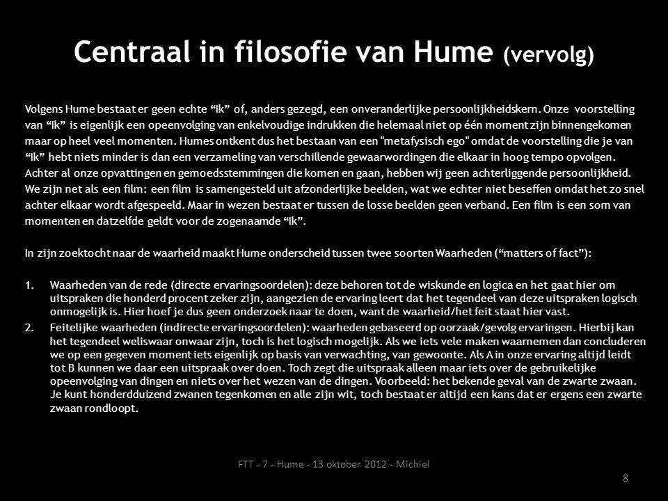 Centraal in filosofie van Hume (vervolg)
