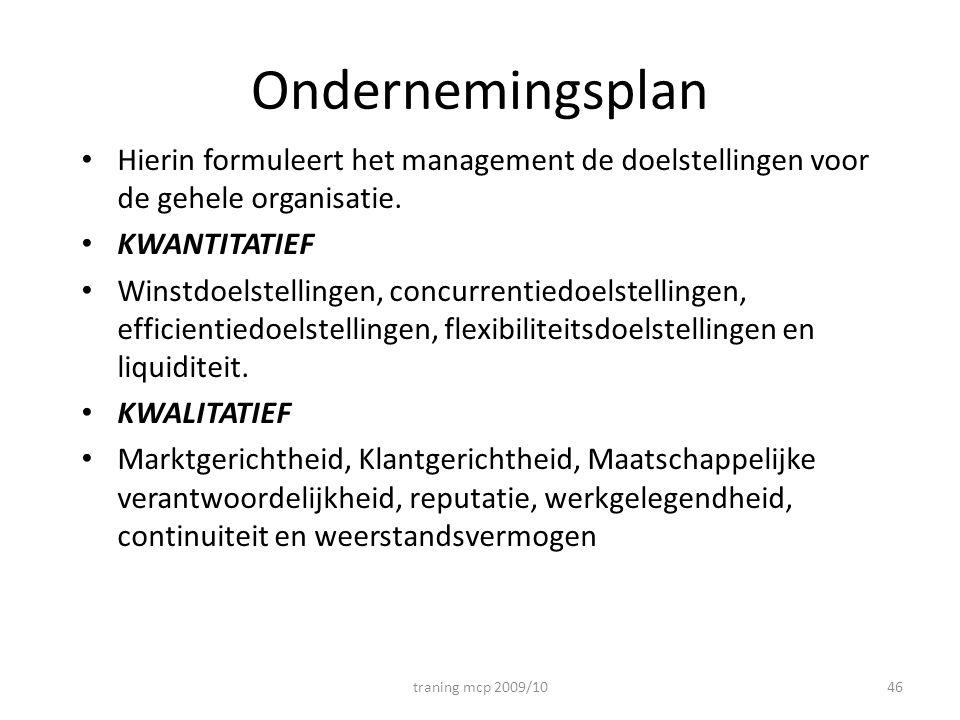 Ondernemingsplan Hierin formuleert het management de doelstellingen voor de gehele organisatie. KWANTITATIEF.