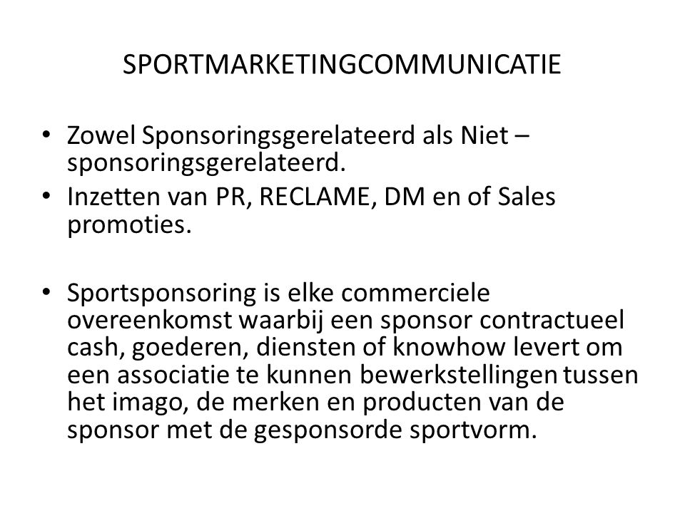 SPORTMARKETINGCOMMUNICATIE