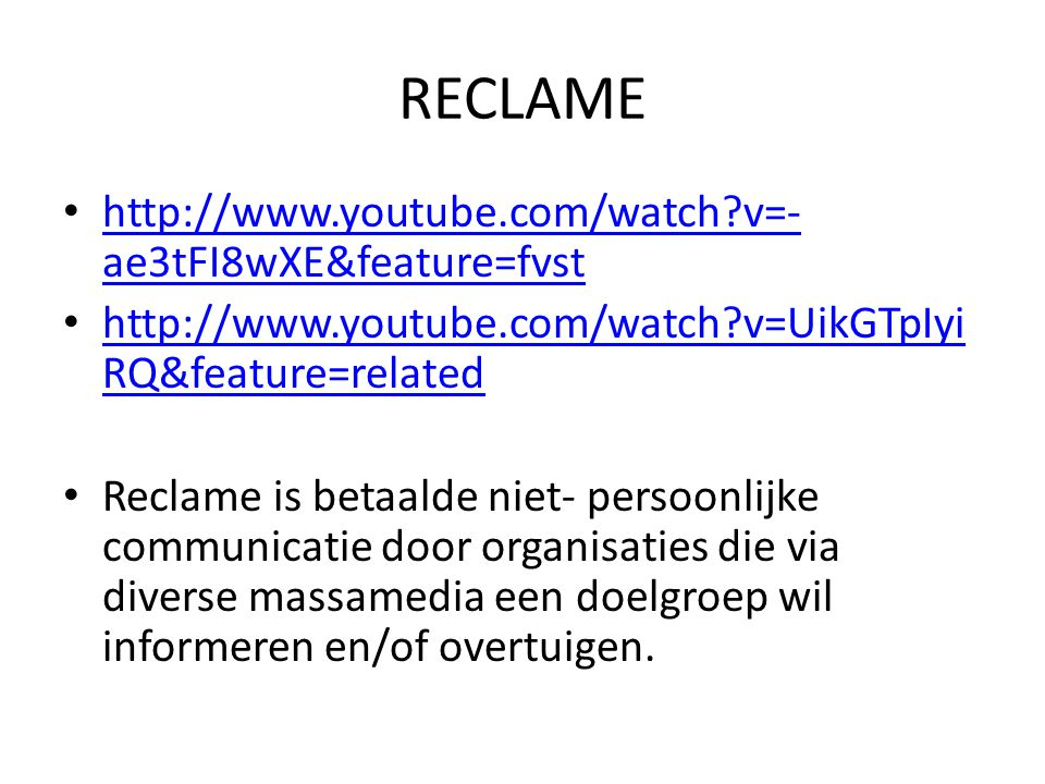 RECLAME http://www.youtube.com/watch v=-ae3tFI8wXE&feature=fvst