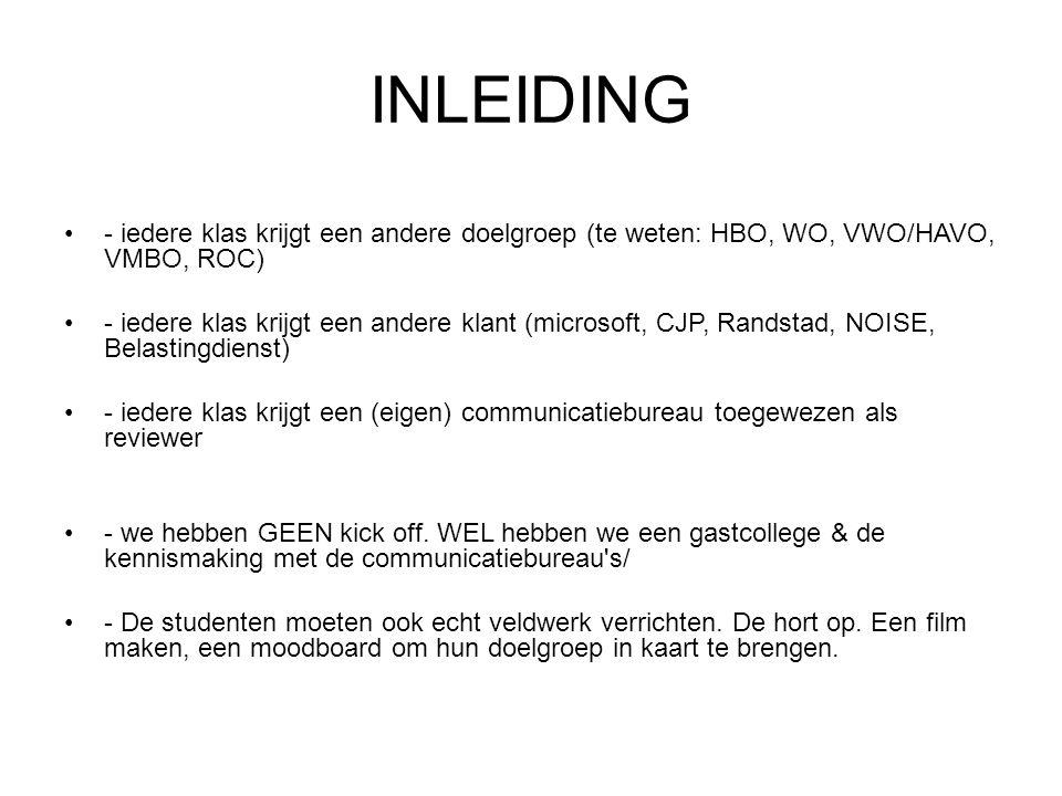 INLEIDING - iedere klas krijgt een andere doelgroep (te weten: HBO, WO, VWO/HAVO, VMBO, ROC)