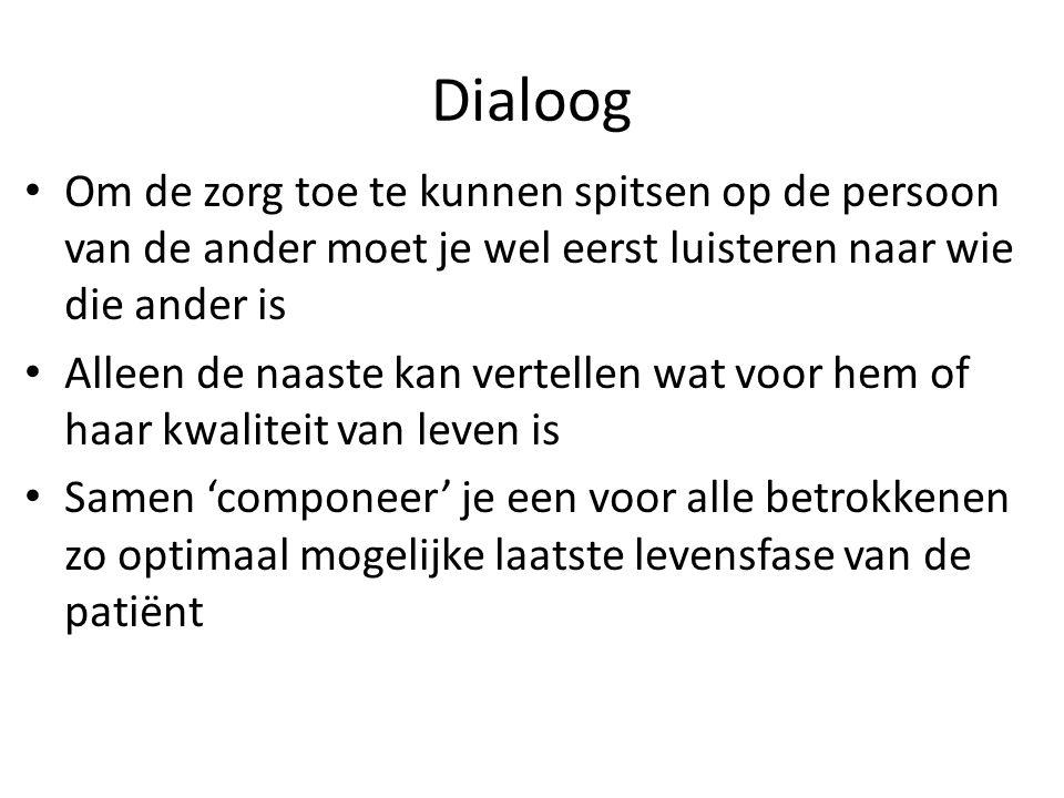 Dialoog Om de zorg toe te kunnen spitsen op de persoon van de ander moet je wel eerst luisteren naar wie die ander is.