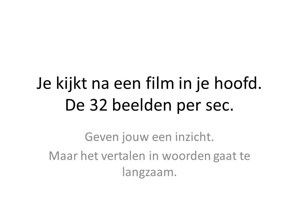 Je kijkt na een film in je hoofd. De 32 beelden per sec.